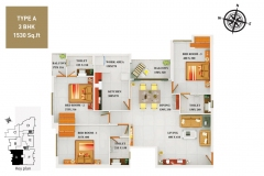 TYPE-A-3BHK-1530-SQFT