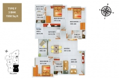TYPE-F-3BHK-1550-SQFT